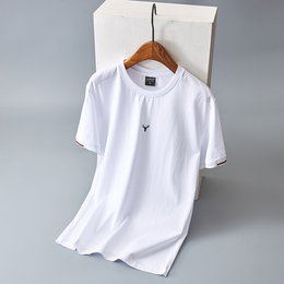 Fashion trend summer new men's short-sleeved t-shirt men's solid color handsome matching bottomed personality couple top