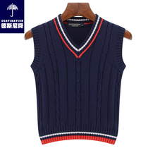 British kindergarten garden clothes children knitted sweater cardigan vest college wind boys and girls primary school uniforms autumn winter