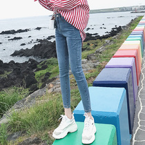 2019 spring and summer new nine points pencil jeans female Korean tight feet eight points elastic net red was thin wild