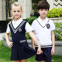 Kindergarten clothing garden summer college wind English wind wind short sleeve short skirt school uniform set Korean elementary school students summer