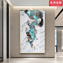 Porch decorative painting vertical aisle corridor lucky feng shui entrance door light luxury crystal porcelain paintings European deer