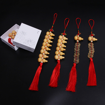 Small gourd string wooden features Chinese knot pendant Lucky Fortune evil gifts town house safe copper coins ornaments