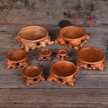 Natural Calabash base mahogany hollow root carving bracket crystal ball Stone egg carving base solid wood round ornaments