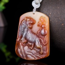 Lu natural Yunnan Huanglong jade zodiac tiger jade pendant pendant mens and womens tiger jade necklace pendant peace card.