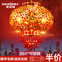 New Year red balcony lanterns lanterns decorative outdoor antique Chinese style housewarming wedding rotating Crystal lanterns