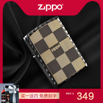 Zippo lighter genuine original Korean gold-plated black ice lattice counter genuine limited personality lettering gift