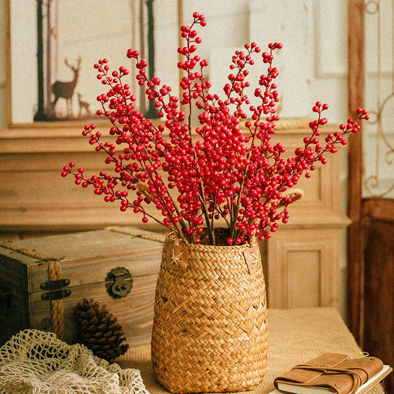Wealthy fruit lucky fruit living room berry simulation flower red fruit holly sung bean red fake red fruit pendulum.