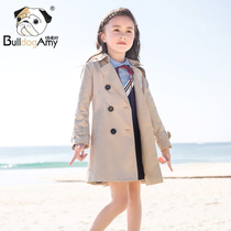 Girls windbreaker 2019 autumn new Korean children's clothing in the Big children's children's coat spring and autumn in the long section