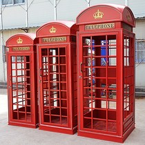 Custom network red retro red telephone booth bar large soft decoration British tea shop decoration props model