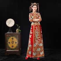 Dragon and Phoenix gown bride 2019 new show wo clothing summer thin section Chinese suit costume wedding dress toast clothing show kimono