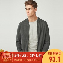 Giordano mesh sweater coat combed cotton baseball collar sweater mesh knit cardigan male 01058611