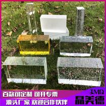 Glass block transparent square glass partition wall bathroom bathroom Crystal brick bar half wall translucent frosted color