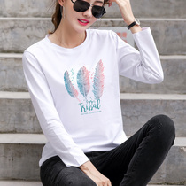 2019 autumn new white cotton long-sleeved t-shirt womens loose spring and autumn bottoming shirt compassionate large size shirt