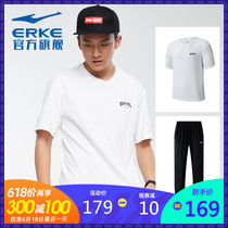 Hongxing Erke mens suit 2019 summer new casual mens suit two comfortable short shirt casual trousers