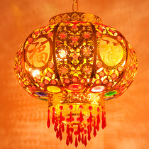 Colorful Chinese New Year red lantern LED door balcony Lantern ornaments rotating Spring Festival married housewarming Lantern chandelier