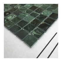 Dark green mosaic tile natural marble big flower green bright face 25mm waist line Wave line Pool Pool
