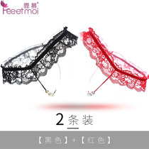 Fei MU beads lace underwear T pants beads exposed PP Ding sexy lingerie passion set female