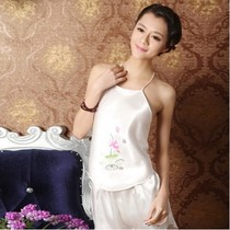 Sleeping suit hanfu midsole students lace festive pajamas summer thin belly retro embroidered personality Sling new