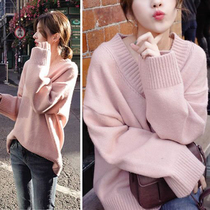 2018 autumn new large size womens fat mm loose sweater womens knit bottoming shirt fat sister 200 pounds shirt