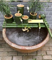Fish homemade bamboo crafts water circulation water cow groove creative stone tank fish pond bamboo filter landscaping