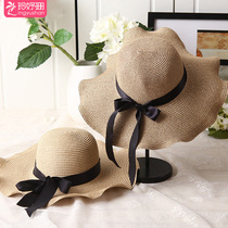 67b8e21a Korean version of the ladies straw hat sun hat ribbon wave side large hat  beach holiday