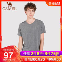 (2019 new) camel outdoor mens round neck T-shirt comfortable casual shirt breathable fashion simple mens T-shirt