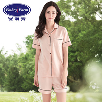 Angelifang summer new cotton short-sleeved shorts pajamas suit hit color edge home service ELW0021