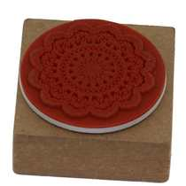 Square wood returnlace flower pattern rubber stamp craft