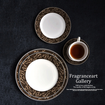 Classic series tableware set Western plate coffee plate steak plate European classical bone porcelain model room.