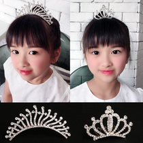 Childrens Crown tiara Crystal princess birthday Korean girls yellow crown girl hairpin small crown rhinestone headband