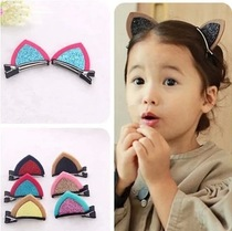 Children hairpin headdress Korean version of the lovely Meng Meng Da baby clip three-dimensional cat ears baby short hair clip