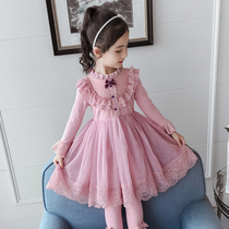 Girls dress 2019 New Super Western lace Pompon skirt little girl autumn princess dress children skirt