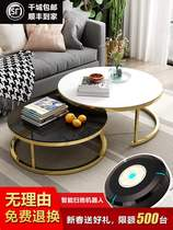 Nordic coffee table small apartment living room simple coffee table balcony round small coffee table simple modern tempered glass coffee table