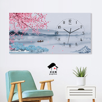 Simple horizontal rectangular Nordic modern new Chinese wall clock hanging table living room restaurant art personality decorative clocks