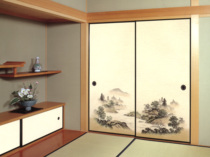 And room tatami fusuma paper painting Chinese Japanese solid wood wardrobe door painting painted paper landscape painting 15 set auspicious