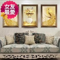 Large peacock living room painting H full diamond paste drill painting embroidery brick painting