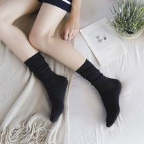 3 pairs of autumn and winter women's stockings in the thick section of rabbit wool socks in the pile of black socks warm cotton socks