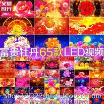 Festive flourishing peony flowers national dance wedding party opening LED big screen background video material