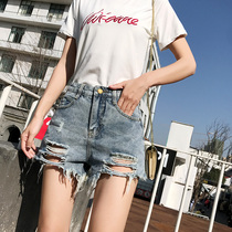 Denim shorts female 2019 summer new Korean version of the short high waist was thin loose wide leg a word wear students hot pants