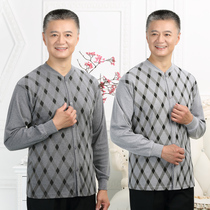 New cotton in the elderly plus fat men open autumn clothes on the button Button Cardigan cotton open cotton sweater underwear