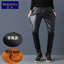 Autumn and winter pu mens leather pants tight youth elastic small feet slimming Korean version of Motorcycle leather pants plus velvet thickening