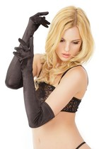 Sexy lingerie black stretch satin long gloves accessories New AL44
