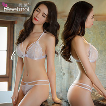 Sexy bra lace bra underwear set no steel thin section transparent sexy perspective nipples ladies Mimi