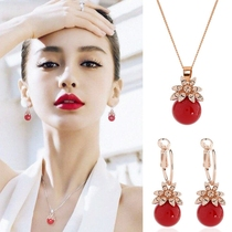 Korean version of the lovely lucky red beads petals crystal earrings necklace set sweet temperament long earrings earrings