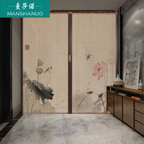 Manshano bamboo curtain sliding door folding sliding door seal simple door new Chinese retro hotel shopping mall partition home