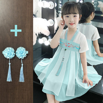 Hanfu girl dress summer dress skirt mother and daughter childrens wear retro Super Fairy Summer Girl skirt