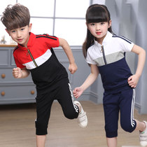 Pupils sports suit new uniforms childrens short-sleeved kindergarten clothes summer pants pants cotton badminton clothing