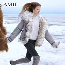 Amii minimalist fashion European goods wool fur Women Short temperament winter sheep shearing motorcycle fur coat
