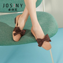 Zhuo Shini shoes 2019 autumn New Square single shoes female simple big bow comfortable shallow mouth Mary Jane shoes