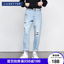 Lilbetter holes in jeans mens tide brand straight pants Korean version of pants loose Haron pants hundred pants plus pants LB